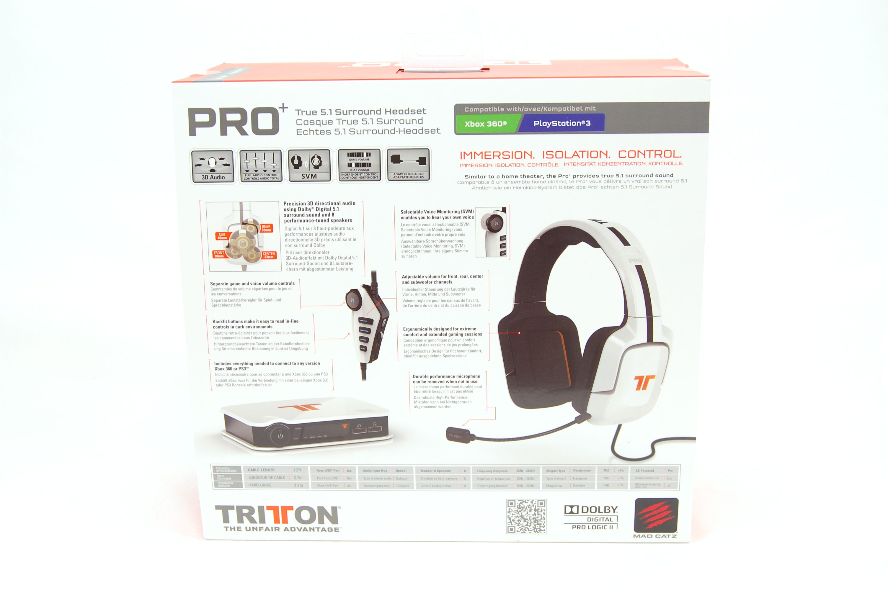 Tritton by MadCatz Pro+ 5.1 Surround Gaming Headset Review - Packaging Box Back